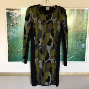 Torn by Rony Kobo Camo Print Sweater Dress